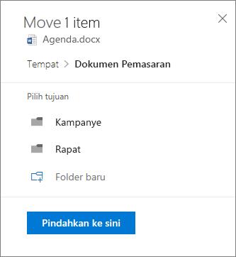 Cuplikan layar memindahkan file dari OneDrive for Business ke situs SharePoint