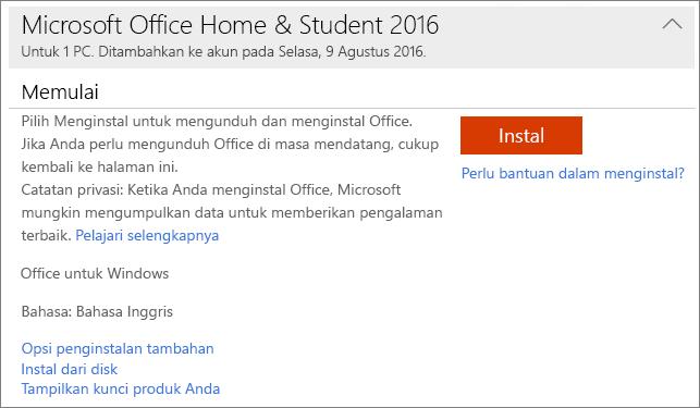 Memperlihatkan tautan Tampilkan kunci produk Anda untuk skema penginstalan satu kali Office.