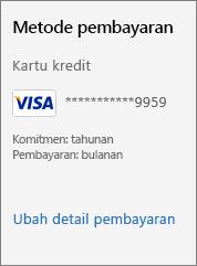 """Cuplikan layar memperlihatkan tautan """"Ubah detail pembayaran""""."""