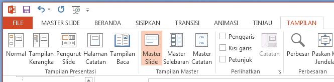 Tombol Slide Master adalah pada tab tampilan di pita.