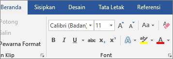 Di Word, di tab Beranda, dalam grup Font, pilih font dan ukuran font.