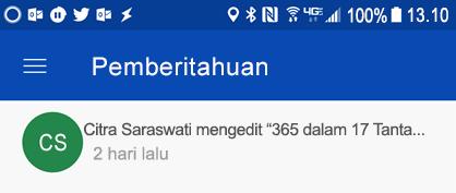 Mendapatkan pemberitahuan di pusat pemberitahuan Android saat colleages mengedit file bersama milik Anda