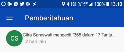 Mendapatkan pemberitahuan di pusat Android pemberitahuan ketika colleages mengedit file Anda bersama