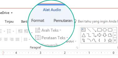 """Ketika klip audio dipilih di slide, bagian """"Alat Audio"""" akan muncul di pita toolbar dengan dua tab: Format dan Pemutaran."""