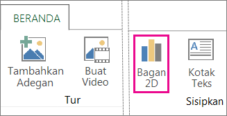 Tombol Bagan 2D pada tab Beranda Power Map