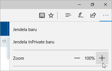 Cuplikan layar Pengaturan dan menu lainnya di Microsoft Edge