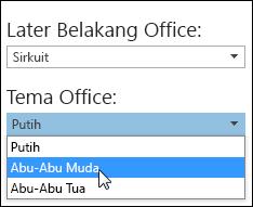 Pilih tema Office yang berbeda