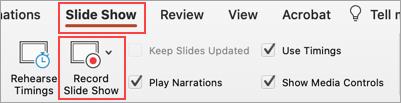 Cuplikan layar tab peragaan slide dan tombol Rekam peragaan slide yang diuraikan
