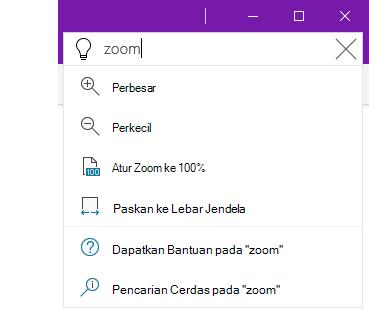 Cuplikan layar sistem bantuan Beri Tahu Saya di OneNote
