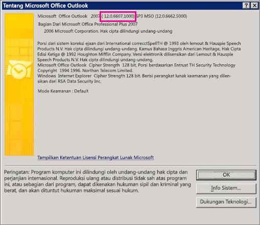"""Cuplikan layar yang memperlihatkan di mana nomor versi Outlook 2007 muncul dalam kotak dialog """"Tentang Microsoft Office Outlook""""."""