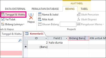 Menambahkan bidang Tanggal/Waktu di tampilan Lembar Data