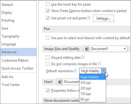 Mengatur resolusi gambar default