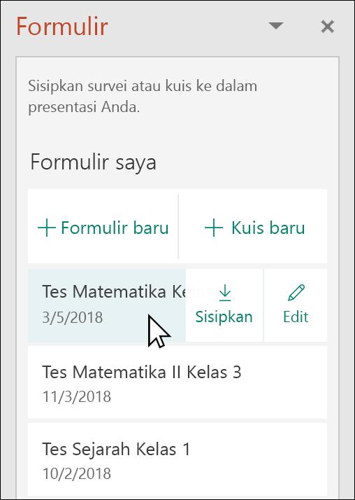 Menyisipkan bentuk atau kuis dari panel Microsoft Forms di PowerPoint