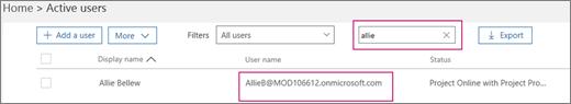 """Cuplikan layar memperlihatkan bagian halaman pengguna aktif dengan istilah pencarian, """"allie"""", ketikkan dalam kotak pencarian yang berdekatan dengan opsi filter, yang disetel untuk semua pengguna. Di bawah, nama lengkap tampilan dan nama pengguna yang diperlihatkan."""