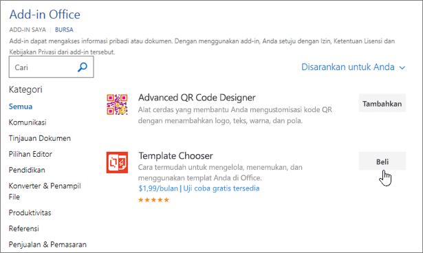 Cuplikan layar Halaman Add-in Office di mana Anda bisa memilih atau mencari add-in untuk Word.