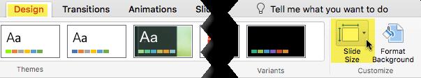 Tombol ukuran Slide berada di ujung kanan tab Desain, pada toolbar