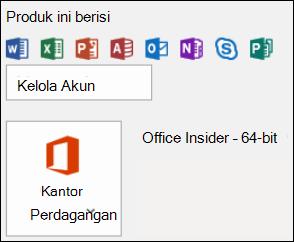 Pilih File > Akun Office untuk mengetahui versi Outlook Anda.