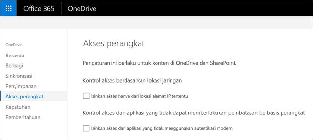 Tab akses perangkat di pusat admin OneDrive