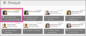 Cuplikan layar petak riwayat dengan tampilan beberapa IM. IM yang hilang disorot