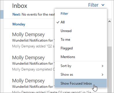 Cuplikan layar menu Filter dengan Perlihatkan Kotak Masuk Prioritas dipilih