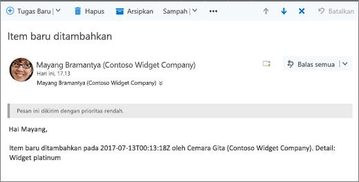 Email yang dikirim oleh Microsoft Flow saat item yang diubah