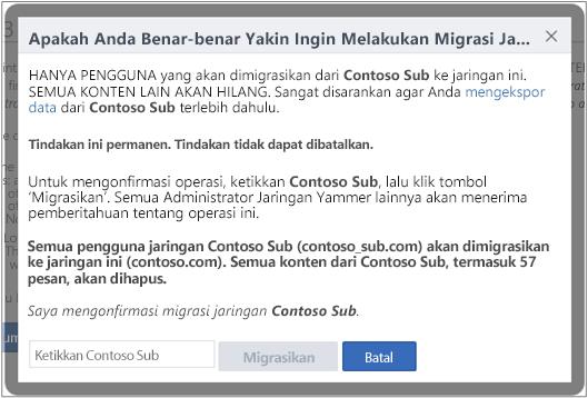 Cuplikan layar kotak dialog untuk mengonfirmasi apakah Anda ingin memigrasikan jaringan Yammer
