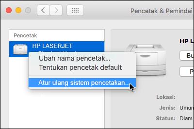 Klik kontrol daftar printer untuk mengakses mereset sistem mencetak pada OSX