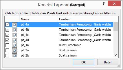 Pemotong laporan koneksi dari alat pemotong > opsi
