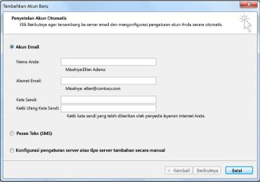 Kotak dialog Tambahkan Akun Baru dengan akun Email dipilih