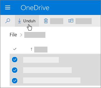 Cuplikan layar pemilihan dan pengunduhan file OneDrive.