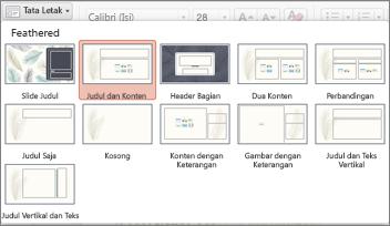 Pada tab Beranda, klik Tata Letak untuk mengubah tampilan slide