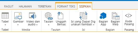 Cuplikan layar tab Sisipkan, yang berisi tombol-tombol untuk menyisipkan tabel, video, grafik, dan link ke halaman situs Anda
