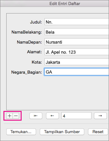 Klik tanda plus atau tanda minus untuk menambahkan atau menghapus orang dari daftar.