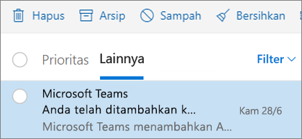 Pengarsipan pesan dalam Outlook di web