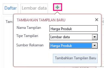 Menambahkan tampilan Lembar Data kueri ke tabel sumber.