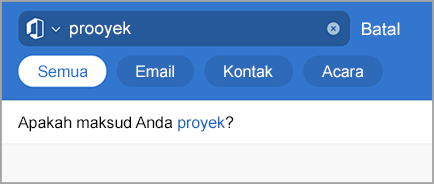 Memperlihatkan pencarian Outlook dengan kesalahan ketik