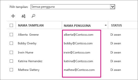 Kolom Nama Pengguna di pusat admin Office 365.