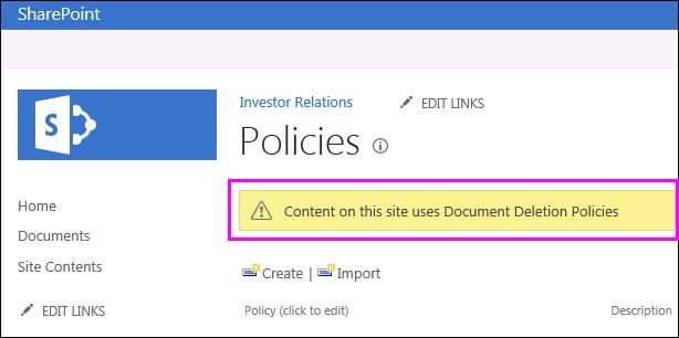 Peringatan di situs dokumen penghapusan kebijakan yang belum digunakan