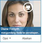 Cuplikan layar dari kotak dialog permintaan IM