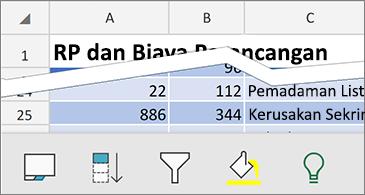 Lembar kerja dengan perintah kontekstual yang tersedia di bagian bawah layar