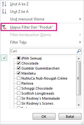 Galeri filter menunjukkan perintah Kosongkan Filter