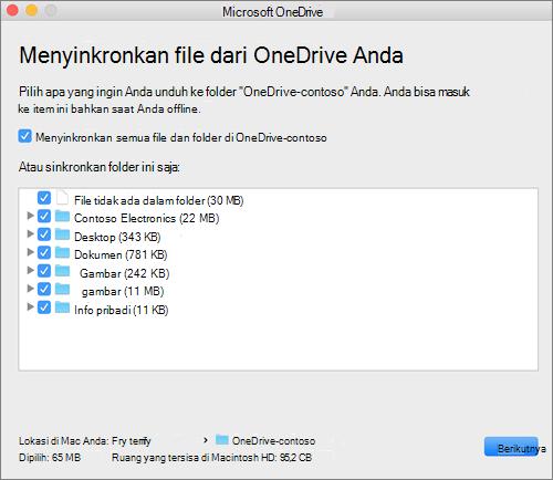 Cuplikan layar menu penyiapan OneDrive untuk memilih folder atau file mana yang akan disinkronkan.