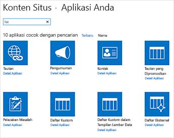 Gambar konten situs yang menambahkan halaman aplikasi