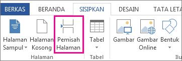 Cara menyisipkan hentian halaman