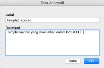 Menambahkan teks alt ke file yang disematkan di OneNote untuk Mac