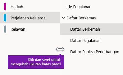 Mengubah ukuran panel navigasi di OneNote untuk Windows 10