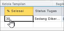 Mengatur status persentase dan taslk lengkap