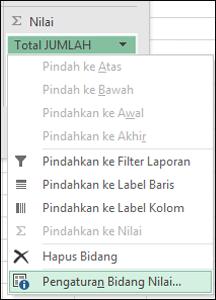 Dialog Pengaturan Bidang Nilai Excel