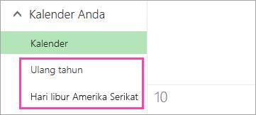 Cuplikan layar kalender hari libur dan hari ulang tahun