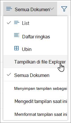 Semua dokumen menu dengan buka di File Explorer disorot